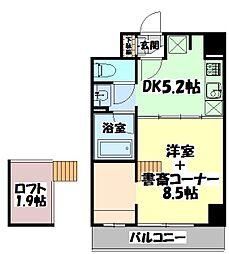 仙台市地下鉄東西線 連坊駅 徒歩5分の賃貸マンション 2階1DKの間取り
