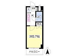 サニーコート福島 8階1Kの間取り