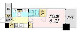 ザパークハビオ堂島 12階ワンルームの間取り