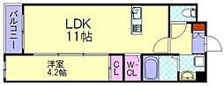 パースペクティブ宇美中央 3階1LDKの間取り