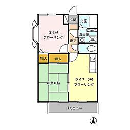 ジュネスハイムIII 2[2階]の間取り