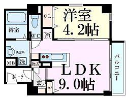 イーストコア新大阪 2階1LDKの間取り