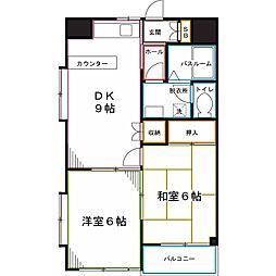 西武国分寺線 恋ヶ窪駅 徒歩8分の賃貸マンション 2階2DKの間取り