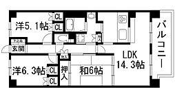 兵庫県伊丹市大野3丁目の賃貸マンションの間取り
