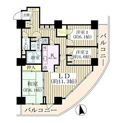 JR山手線 日暮里駅 徒歩6分の賃貸マンション 23階3LDKの間取り