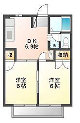 ヤネヤハイツ[2階]の間取り