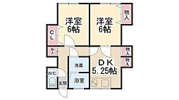 小花ハイツ(増建)[2階]の間取り