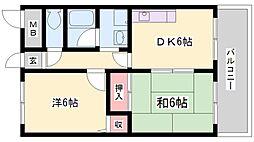 ハイツ木村[1階]の間取り