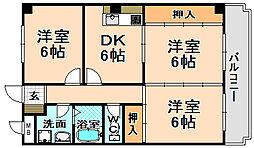 兵庫県伊丹市昆陽南2丁目の賃貸マンションの間取り