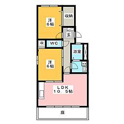 レジデンス B棟[1階]の間取り