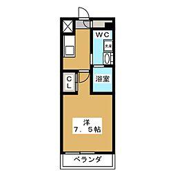 ベルグレードKAMEIDO 6階1Kの間取り