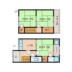 奈良県大和高田市大谷の賃貸アパートの間取り