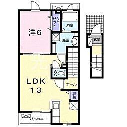 東京都清瀬市元町2丁目の賃貸アパートの間取り