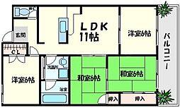 晋和ビル 6階4LDKの間取り