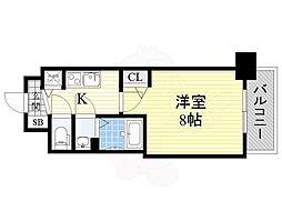 ディームス江坂 12階1Kの間取り