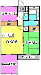 埼玉県富士見市水谷1丁目の賃貸マンションの間取り