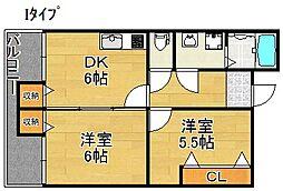 サニーハイツタカヨシ[1階]の間取り