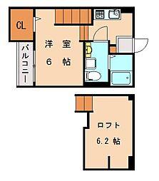福岡県福岡市東区香椎駅東1丁目の賃貸アパートの間取り