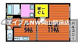 岡山県岡山市北区十日市中町丁目なしの賃貸アパートの間取り