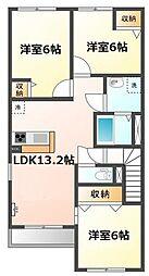 愛知県名古屋市守山区森孝2丁目の賃貸アパートの間取り