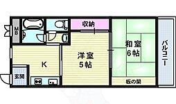 Osaka Metro御堂筋線 中津駅 徒歩8分の賃貸マンション 5階2Kの間取り
