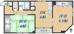 ロフティー1番館 3階2DKの間取り