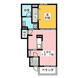 岡山県岡山市南区福富中2丁目の賃貸アパートの間取り