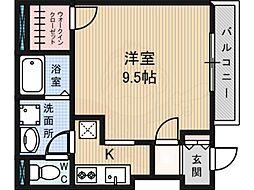 南海高野線 萩原天神駅 徒歩9分の賃貸アパート 1階ワンルームの間取り
