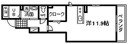 南海線 岸和田駅 徒歩8分の賃貸アパート 1階1Kの間取り