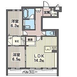 JR東北本線 氏家駅 バス50分 役場前下車 徒歩2分の賃貸マンション 3階2LDKの間取り