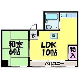 愛媛県松山市喜与町2丁目の賃貸マンションの間取り