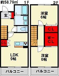 JR鹿児島本線 西小倉駅 徒歩15分の賃貸アパート 2階2LDKの間取り