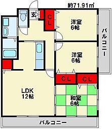 メゾン・ド・ソレイユ 3階3LDKの間取り
