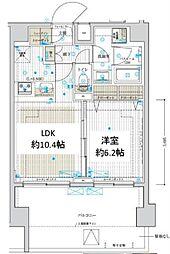 東武伊勢崎線 五反野駅 徒歩8分の賃貸マンション 11階1LDKの間取り