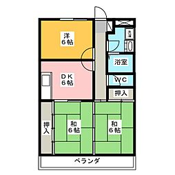メゾンエクセル日比津[2階]の間取り