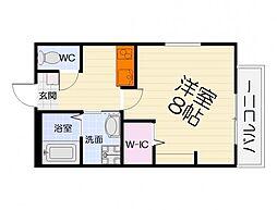 JR阪和線 鳳駅 徒歩16分の賃貸アパート 2階1Kの間取り
