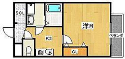 大阪府枚方市津田西町3丁目の賃貸アパートの間取り