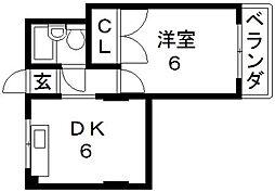 OMレジデンス八戸ノ里[306号室号室]の間取り
