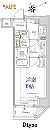 JR京浜東北・根岸線 桜木町駅 徒歩10分の賃貸マンション 4階1Kの間取り
