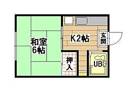 福岡県北九州市小倉北区明和町の賃貸アパートの間取り