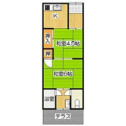 京都府京都市伏見区深草大亀谷東寺町の賃貸アパートの間取り