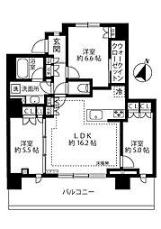 リーフィアタワー海老名 28階3LDKの間取り