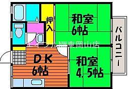 岡山県岡山市中区倉田丁目なしの賃貸アパートの間取り