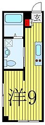 JR山手線 駒込駅 徒歩6分の賃貸マンション 2階ワンルームの間取り