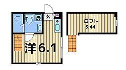 ハーモニーテラス加平II 2階ワンルームの間取り