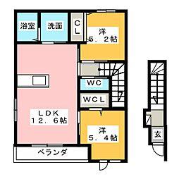 仮)楠アパート[2階]の間取り