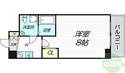 JR東海道・山陽本線 東淀川駅 徒歩4分の賃貸マンション 2階1Kの間取り