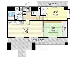 ドムール三国2番館 7階2LDKの間取り