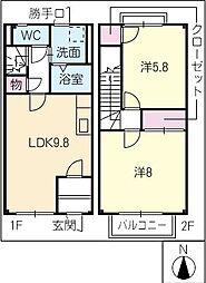 [タウンハウス] 岐阜県美濃加茂市本郷町2丁目 の賃貸【/】の間取り