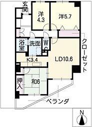 茶屋ヶ坂パークマンション[8階]の間取り